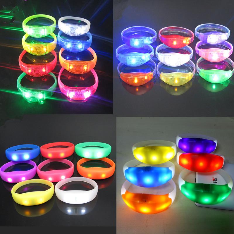 厂家直销硅胶声控发光手环LED闪光手环震动发光手环节日气氛道具