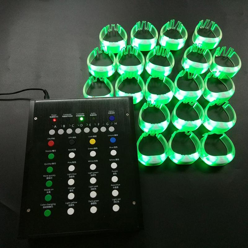 编程led遥控发光手环 15色变色2.4G遥控硅胶手腕带演唱会助威手环